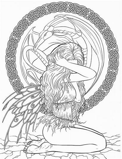 Coloring Pages Fantasy Gothic Adult Adults Dark