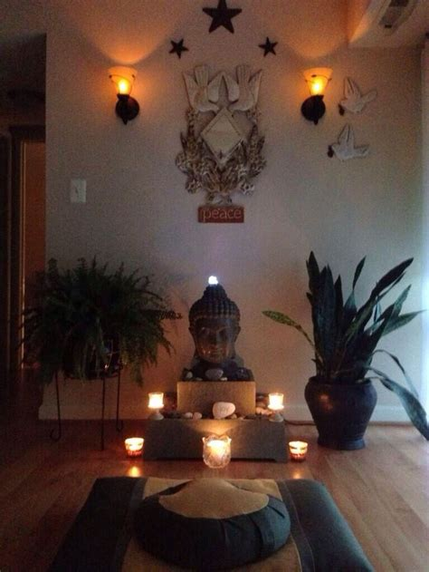 space meditation altar buddha corner room zen rooms yoga