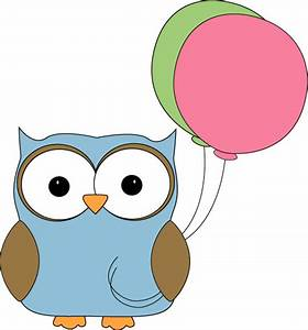 Owl With Balloons Clip Art - Owl With Balloons Image