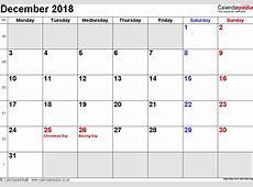 Calendar December 2018 UK, Bank Holidays, ExcelPDFWord