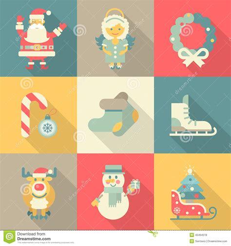 new year christmas christmas clothing sets elk christmas new year icon set flat style santa