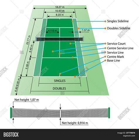 A tennis court is where the game of tennis is played. Tennis Court Dimensions Vector & Photo | Bigstock