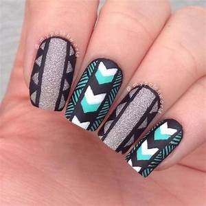 Black and grey tribal nail art design