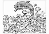 Dolphin Coloring Pages Dolphins Waves Jumping Adult Water Mandala Colouring Adults Printable Zentangle Animal Animals Drawing Dibujos Pattern sketch template