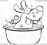 Tub Dog Cartoon Clipart Coloring Soaking Outlined Happy Vector Pages Template Thoman Cory 2021 Sketch sketch template