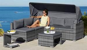 Rattan Lounge Mit Dach : loungebett atlanta polyrattan inkl auflagen grau online kaufen otto ~ Bigdaddyawards.com Haus und Dekorationen