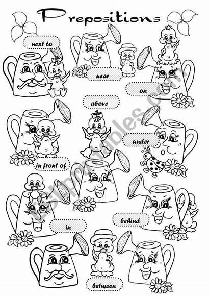 Prepositions Place Coloring Preposition Esl Worksheet Worksheets