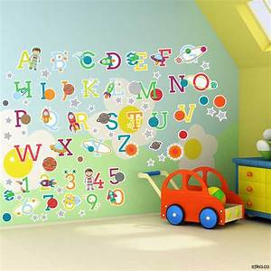 Space planets alphabet letters and numbers self adhesive for Adhesive wall art letters