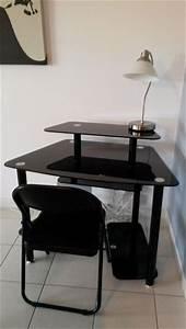 Console Verre Fly : stunning elegant bureau en verre noir with bureau angle ~ Teatrodelosmanantiales.com Idées de Décoration