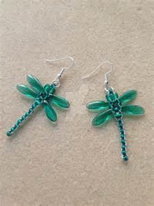 thread earrings beaded dragonfly earrings teal by whitemagicpriestess on