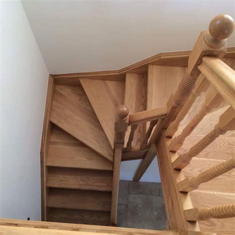 Oak Double Winder Stairs With Oak Barley Twist Oak Double