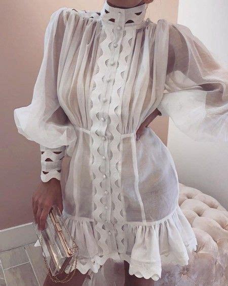 Lantern Sleeve High Neck Cutout Detail Dress | Clothes for ...