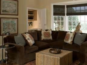 Brown Sofa Living Room Ideas by Brown Velvet Sectional Cottage Living Room Phoebe Howard