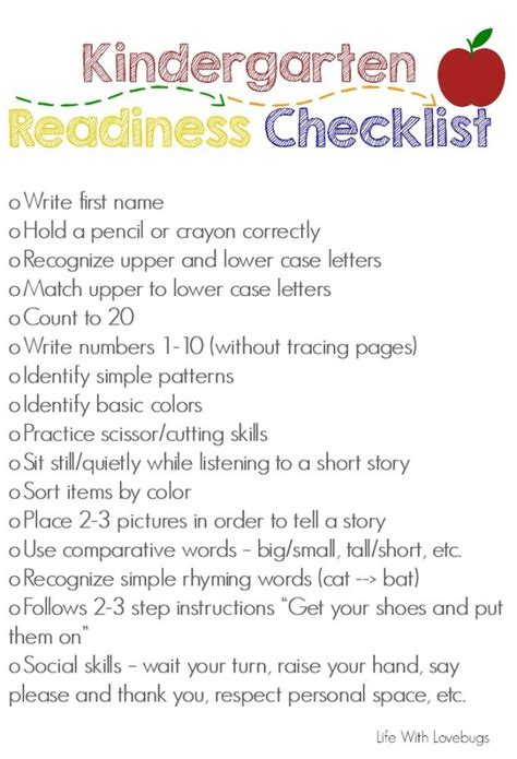 getting ready for kindergarten printable checklist 810 | Kindergarten Readiness Checklist