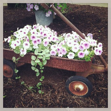 Fill Old Prim Wagon With Flowers For Primitive