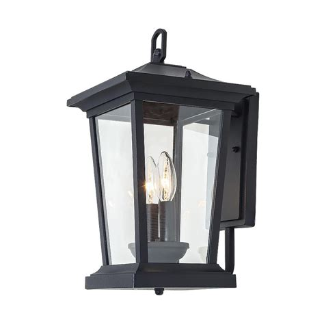 lnc 2 light candle style black outdoor wall lantern