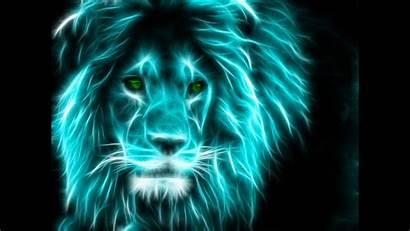 Glowing Photoshop Animals Lion Neon Amazing Turquoise