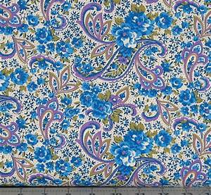 Purple Blue White and Green Paisley Cotton Quilt Fabric from