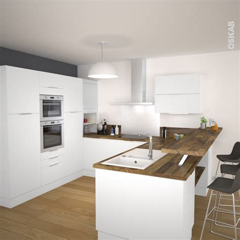 plan de travail cuisine blanc laqué frais cuisine blanc laqué et bois impressionnant design