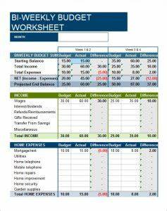 Retirement Budget Worksheet Printable Bi Weekly Budget Templates Free Word Templates