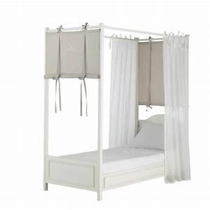 Rideaux Maison Du Monde Occasion : 4 rideaux de lit en coton blanc taupe h 150 cm manosque maisons du monde ~ Dallasstarsshop.com Idées de Décoration