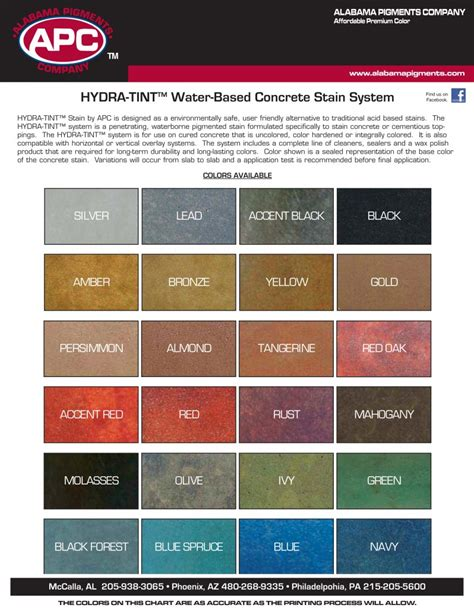 Color Of by Decorative Concrete Color Charts Sealant Depot Resources