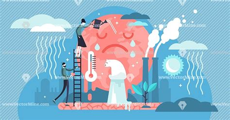 Climate change tiny person concept vector illustration ...