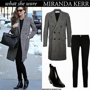 what she wore miranda kerr in grey laurent coat