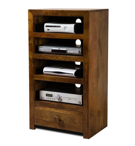 Teak Wood Bookcase by Solid Mango Wood Hi Fi Shelving Unit Tall Casa Bella