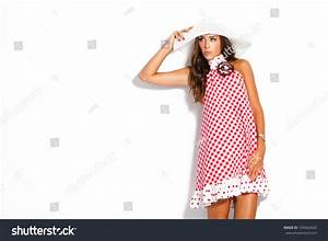 Young Fashion Model Summer Dress Hat Stock Photo 109464020 ...