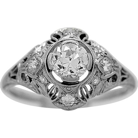 antique engagement ring  lamberts ct diamond