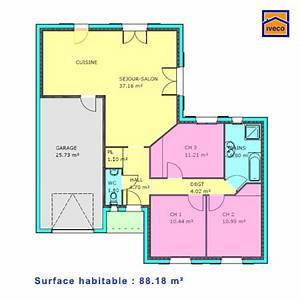 plan de maison individuelle plain pied With plan de maison 100m2 3 plan de maison plain pied 3 chambres sans garage ideo