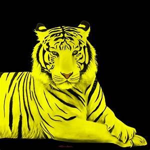 TIGER YELLOW TIGER-Thierry Bisch Animal painter threatened