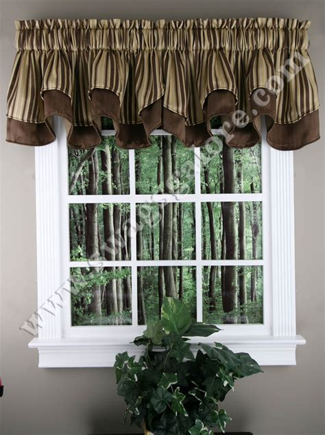 windsor layered scalloped valance brown stylemaster
