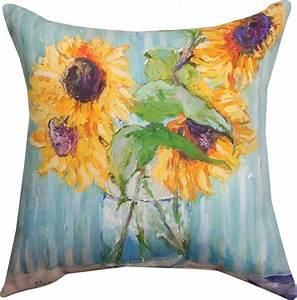 Sunflowers In Vase Indoor  Outdoor Pillow By Richard