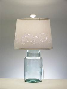 Fillable glass block table lamp review lamps ideas for Glass jar floor lamp