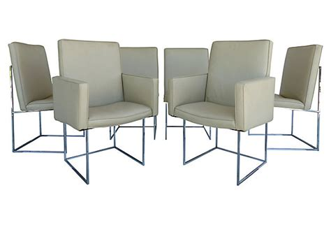 milo baughman for thayer coggin dining chairs in chrome