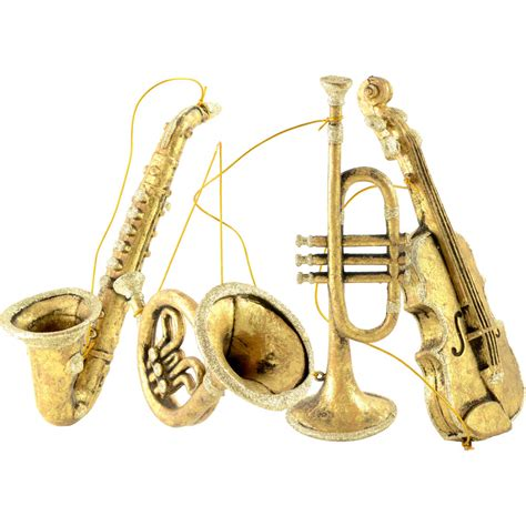 assorted musical instrument ornaments gold set