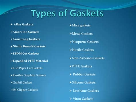 Gaskets & Types Of Gasket Materials