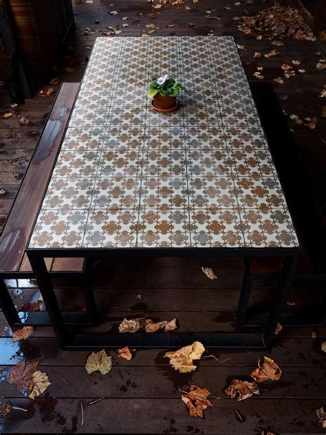 custom steel table  tiled top  spotted gum bench