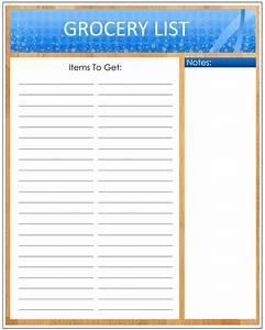 Grocery List Template Blank | New Calendar Template Site