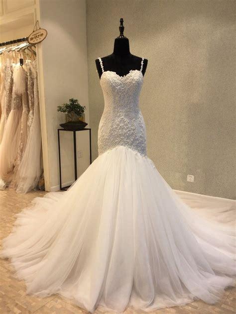 classic mermaid spaghetti straps tulle  lace wedding dress