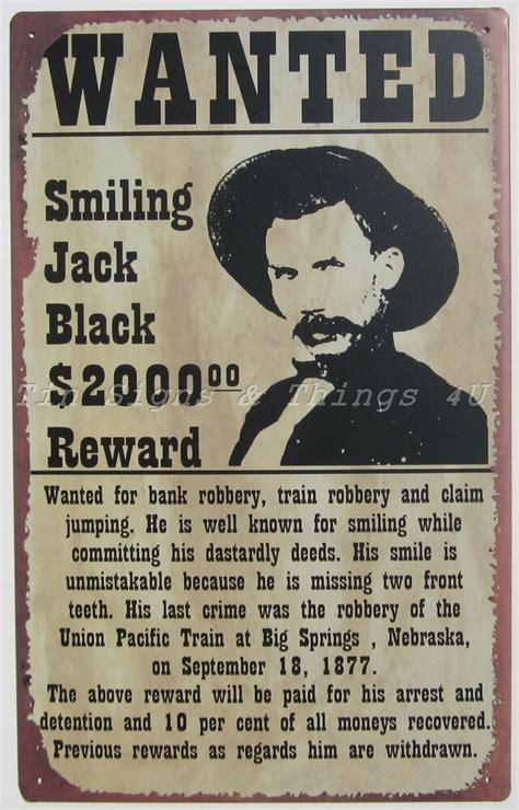 smiling jack black wanted poster tin sign metal western