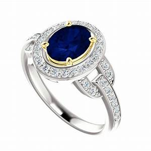 8x6mm oval blue sapphire diamond vintage inspired With blue diamond wedding rings for women