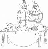 Thanksgiving Coloring Pages Feast Pilgrim Indian Printable Disney Print Happy sketch template