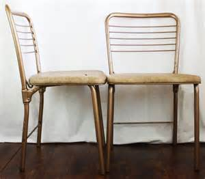 vintage cosco folding chairs 2 metal wired gatefold chairs w
