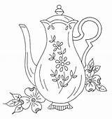 Coffee Coloring Embroidery Tea Teapots Pots Pot Pattern Adult Colouring Coffeepot sketch template
