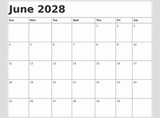 June 2028 Calendar Template