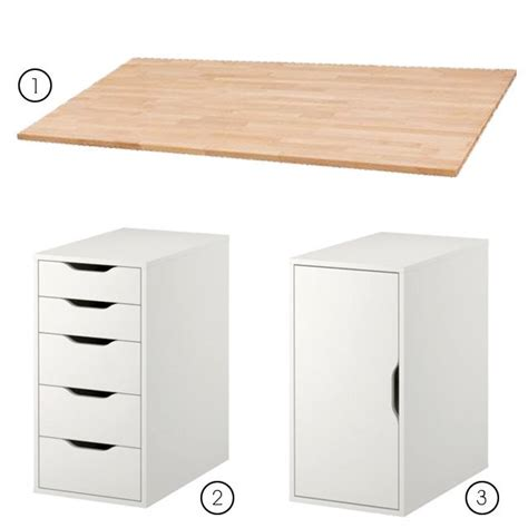 diy desk with ikea alex drawer unit 80 and storage unit