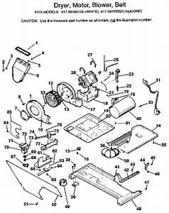 Dryer  Motor  Blower  Belt Diagram  U0026 Parts List For Model